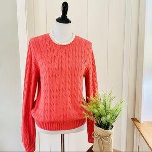 RALPH LAUREN Coral 100% Cotton Cable Knit Sweater